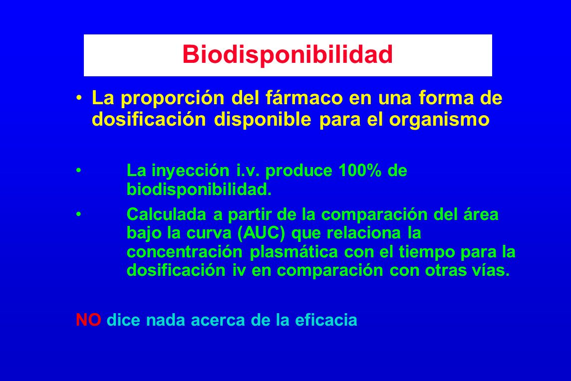 Biodisponibilidad La proporción del fármaco en una forma de dosificación disponible para el organismo.