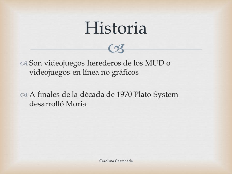 Historia Son videojuegos herederos de los MUD o videojuegos en línea no gráficos. A finales de la década de 1970 Plato System desarrolló Moria.