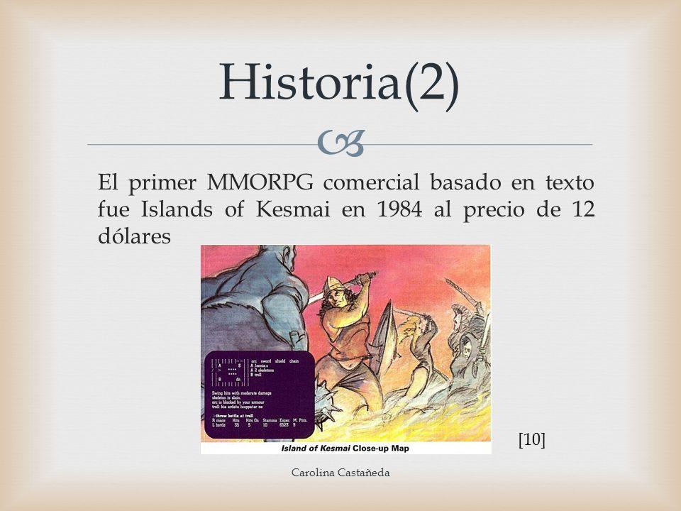 Historia(2)El primer MMORPG comercial basado en texto fue Islands of Kesmai en 1984 al precio de 12 dólares.