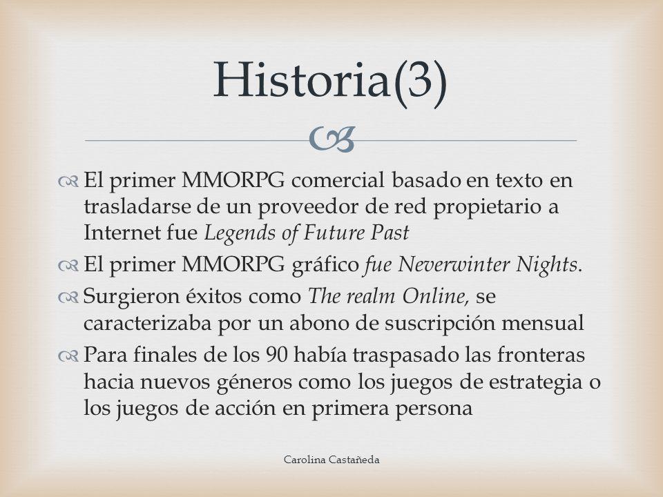 Historia(3)El primer MMORPG comercial basado en texto en trasladarse de un proveedor de red propietario a Internet fue Legends of Future Past.