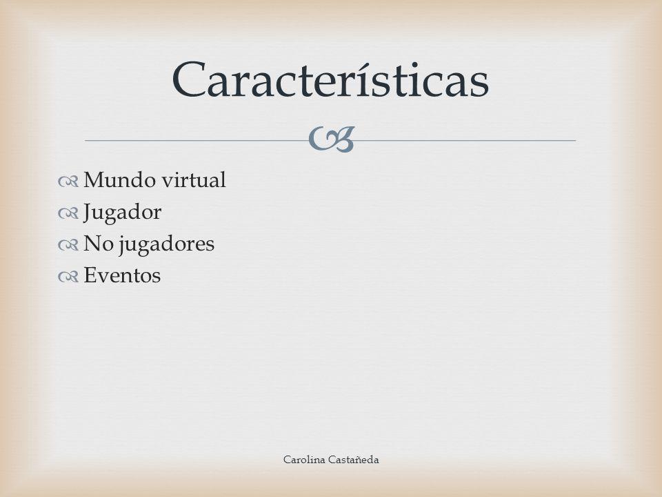 Características Mundo virtual Jugador No jugadores Eventos