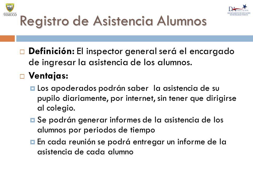 Registro de Asistencia Alumnos