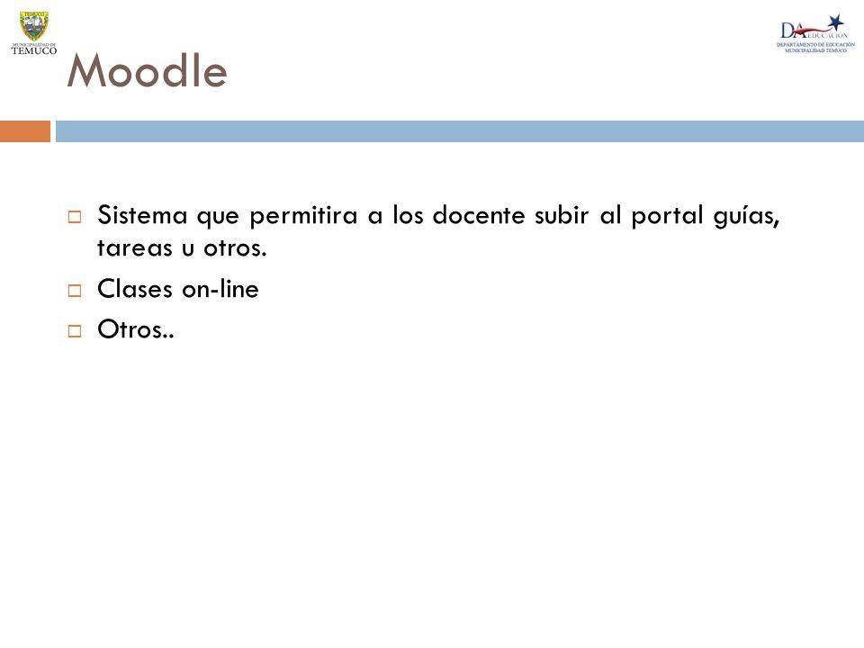Moodle Sistema que permitira a los docente subir al portal guías, tareas u otros. Clases on-line.