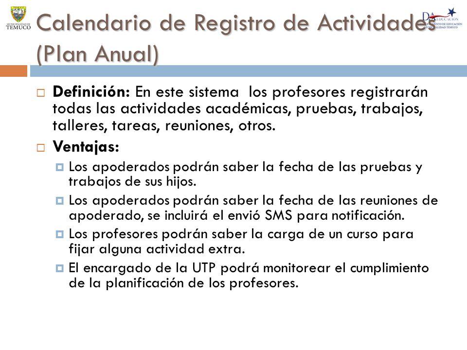 Calendario de Registro de Actividades (Plan Anual)
