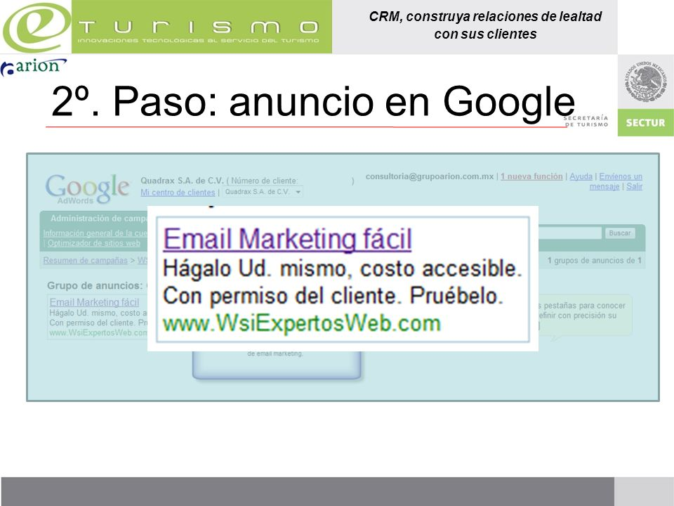 2º. Paso: anuncio en Google