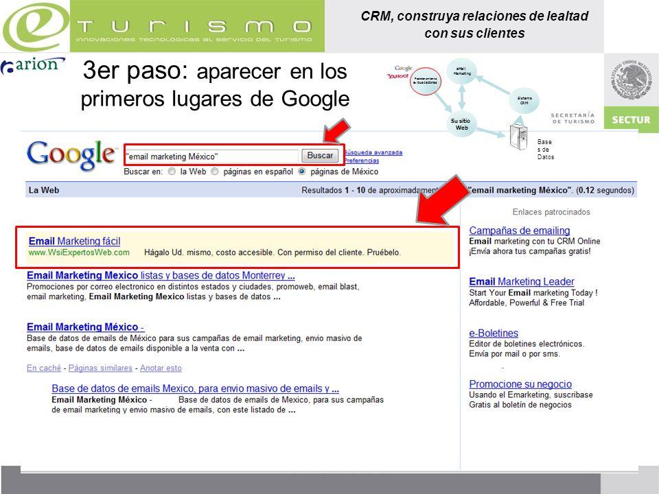 3er paso: aparecer en los primeros lugares de Google