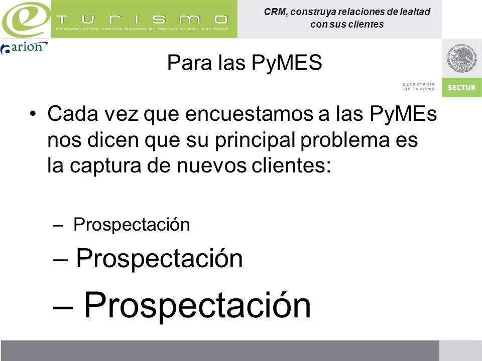 Para las PyMES Cada vez que encuestamos a las PyMEs nos dicen que su principal problema es la captura de nuevos clientes: