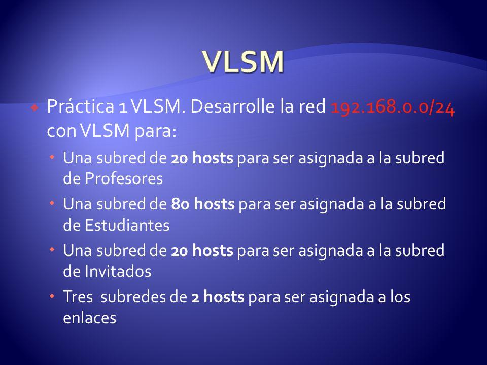 VLSM Práctica 1 VLSM. Desarrolle la red 192.168.0.0/24 con VLSM para: