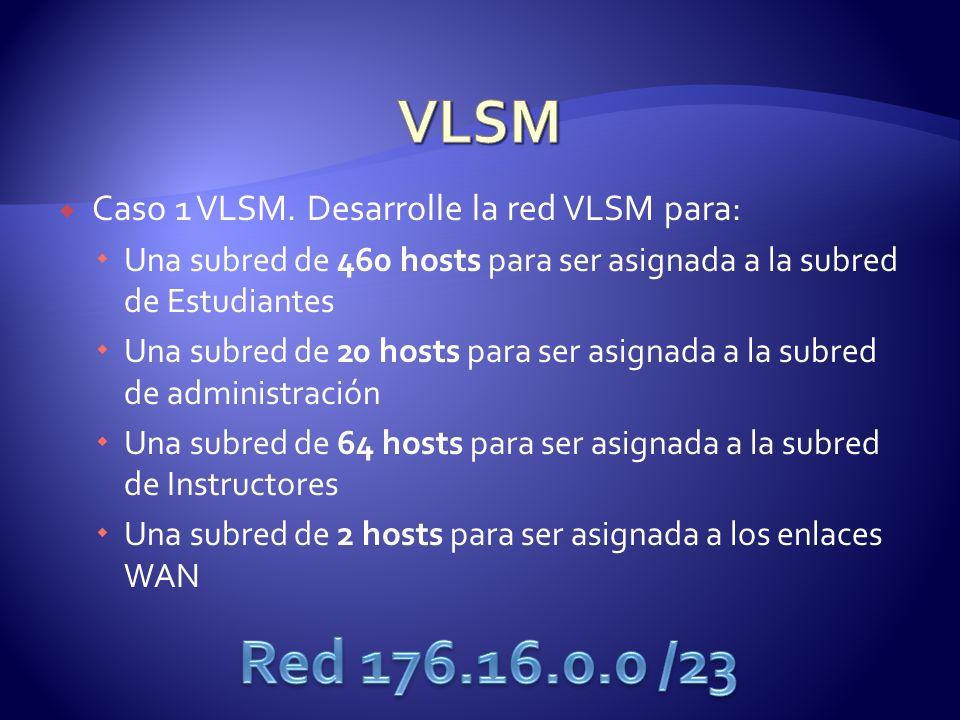 VLSM Red 176.16.0.0 /23 Caso 1 VLSM. Desarrolle la red VLSM para: