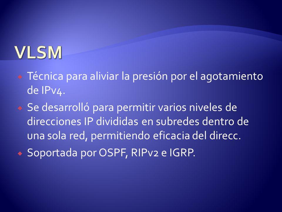 VLSM Técnica para aliviar la presión por el agotamiento de IPv4.