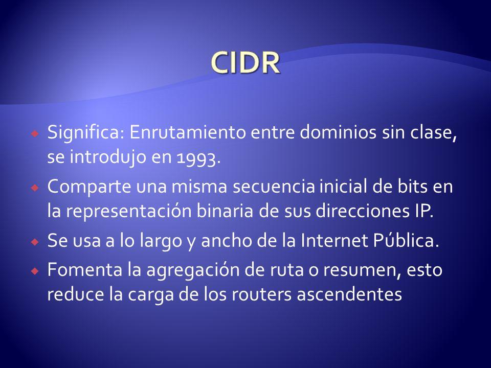 CIDR Significa: Enrutamiento entre dominios sin clase, se introdujo en 1993.
