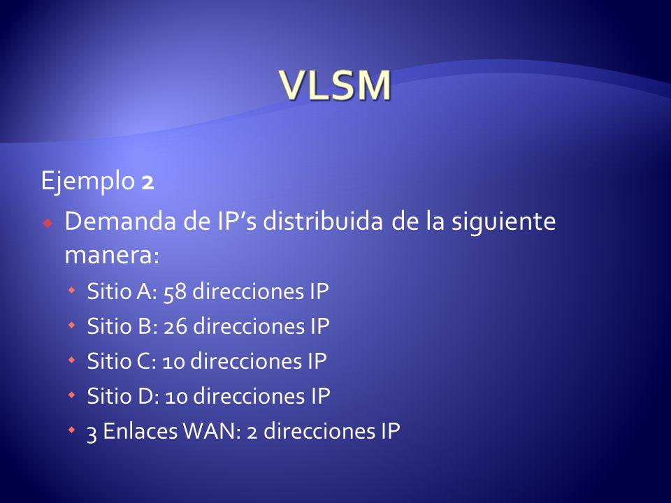 VLSM Ejemplo 2 Demanda de IP's distribuida de la siguiente manera: