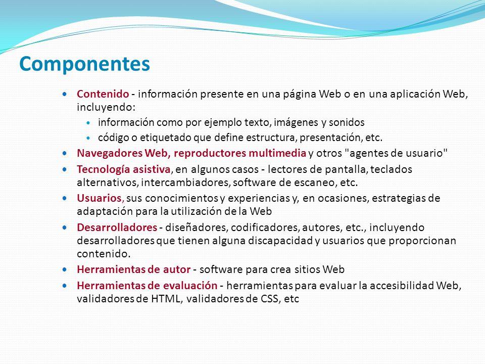 Componentes Contenido - información presente en una página Web o en una aplicación Web, incluyendo: