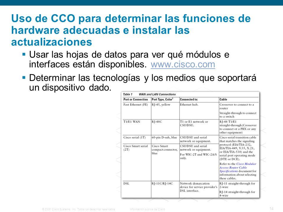 Uso de CCO para determinar las funciones de hardware adecuadas e instalar las actualizaciones