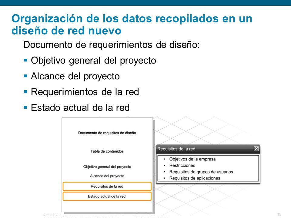 Organización de los datos recopilados en un diseño de red nuevo