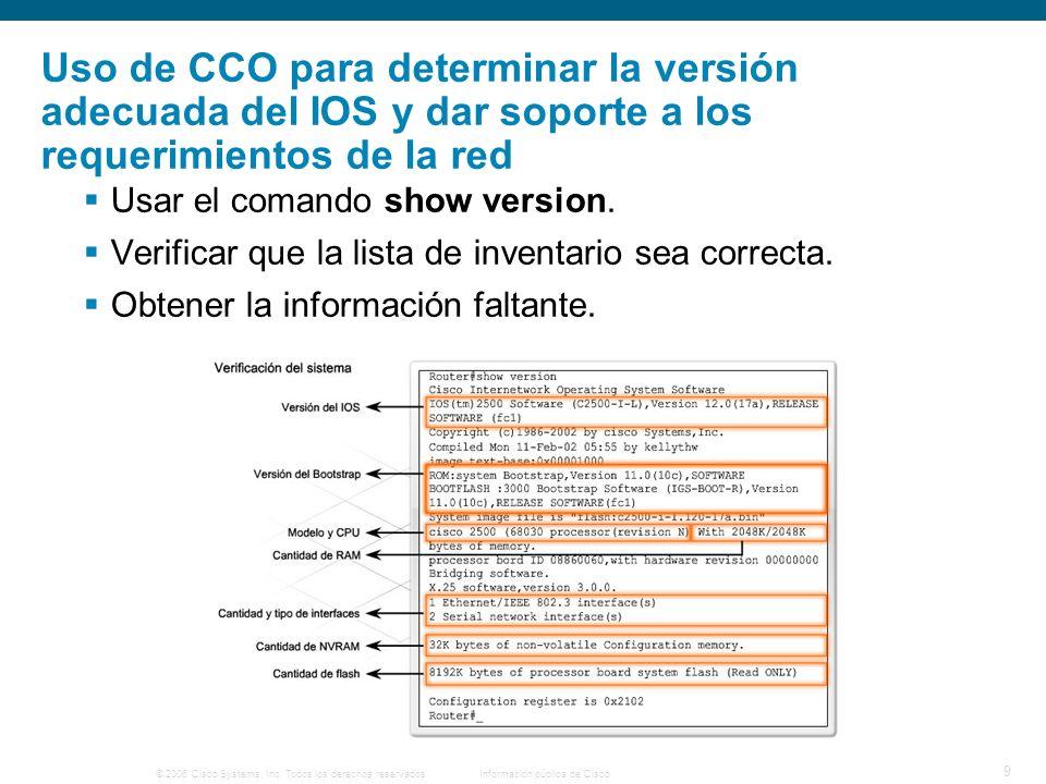 Uso de CCO para determinar la versión adecuada del IOS y dar soporte a los requerimientos de la red