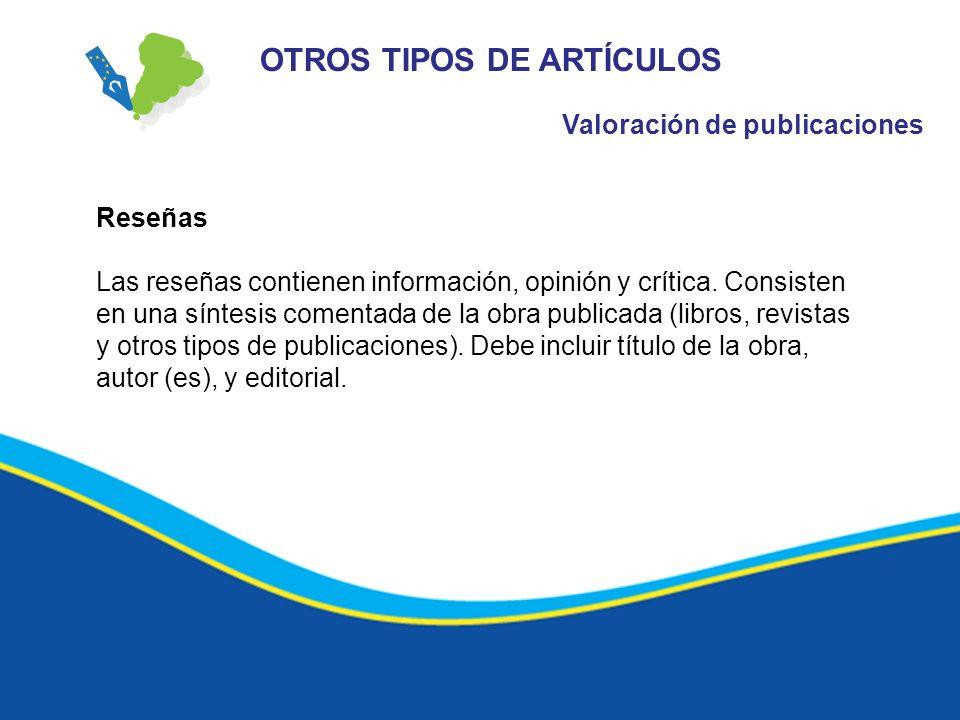 OTROS TIPOS DE ARTÍCULOS