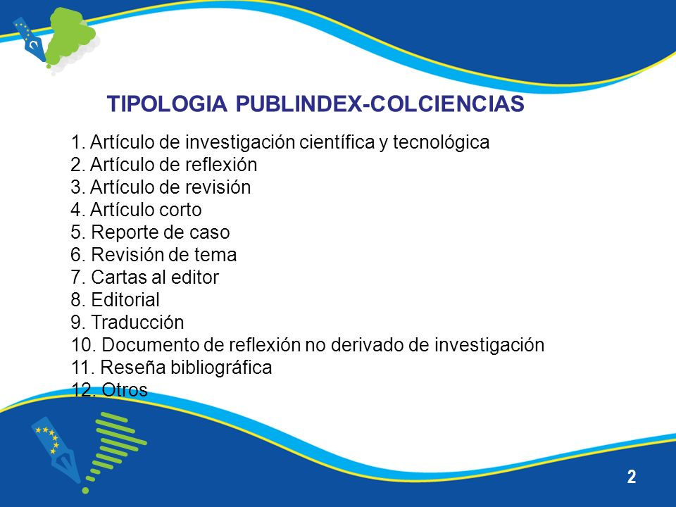 TIPOLOGIA PUBLINDEX-COLCIENCIAS
