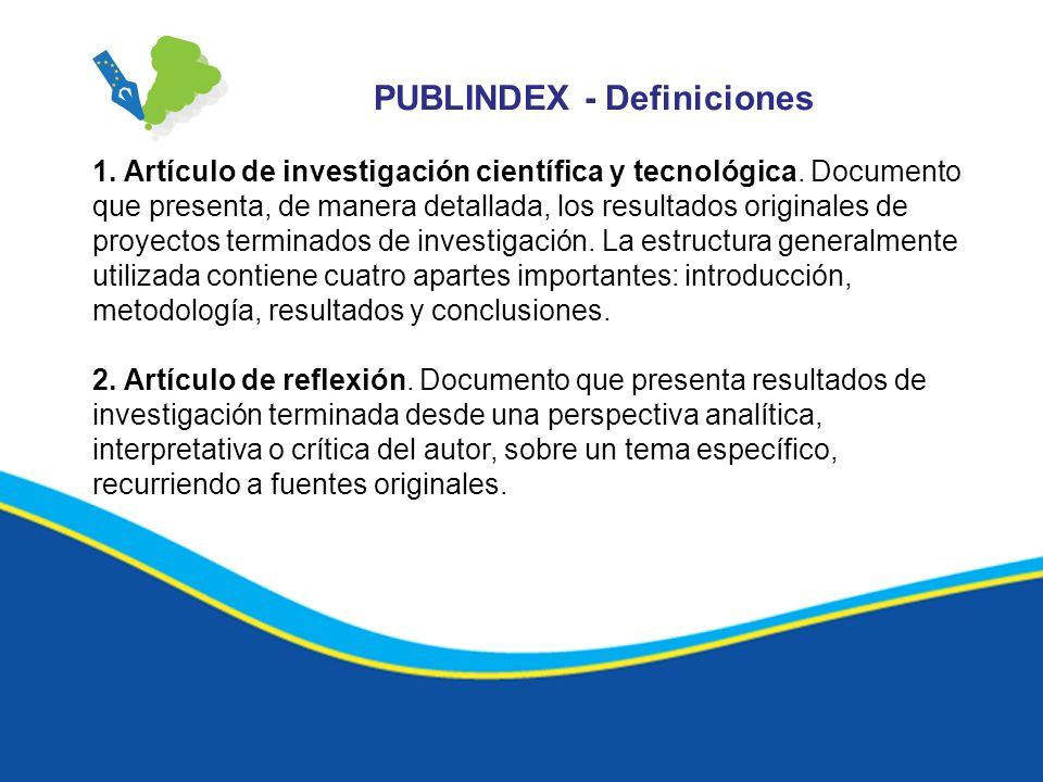PUBLINDEX - Definiciones