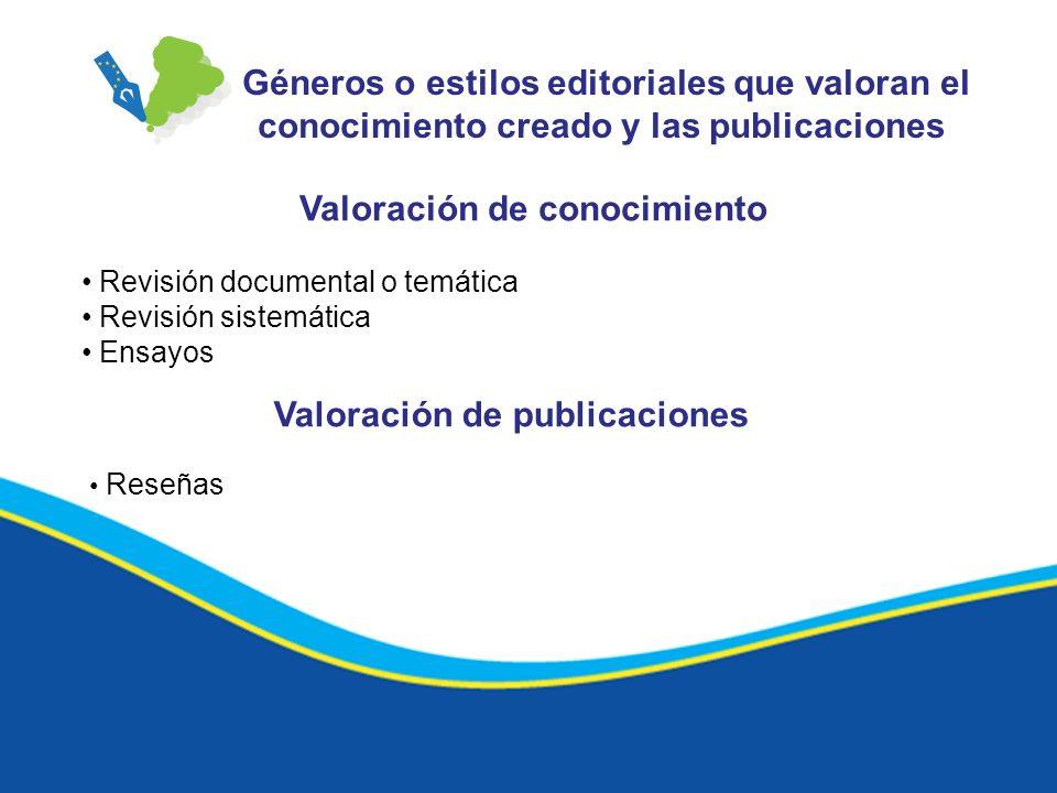Valoración de conocimiento Valoración de publicaciones