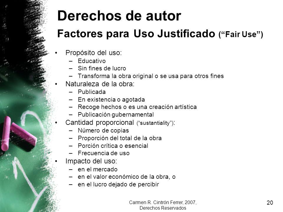 Derechos de autor Factores para Uso Justificado ( Fair Use )