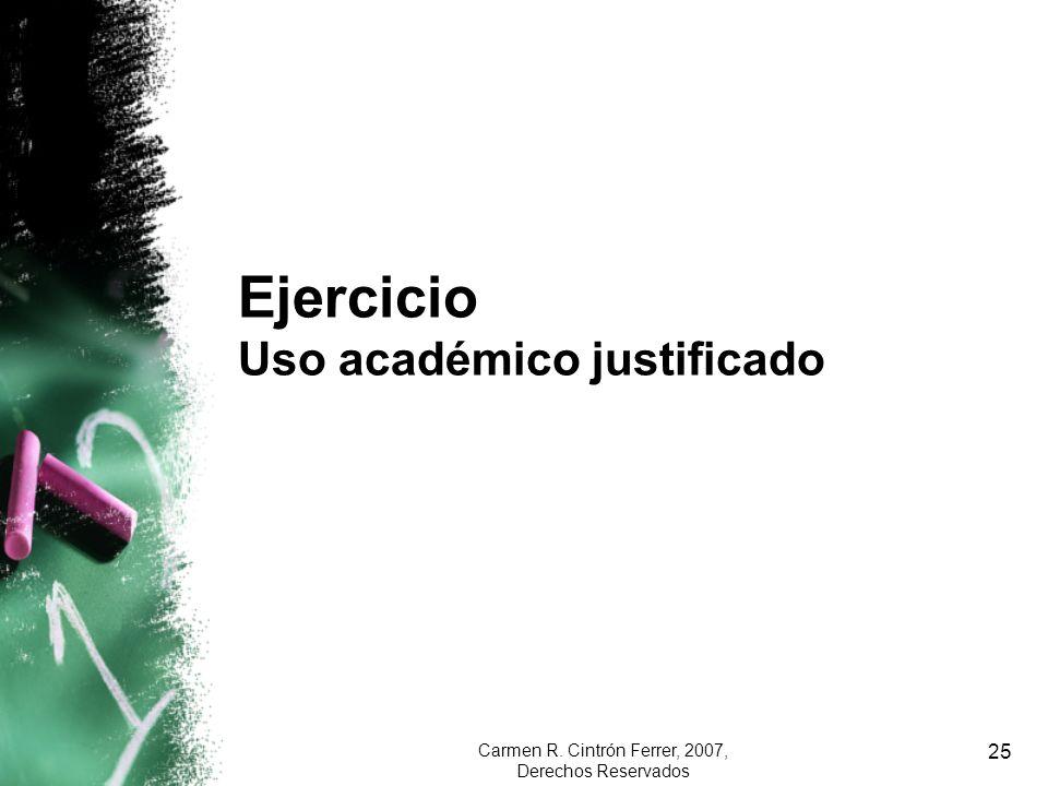 Ejercicio Uso académico justificado