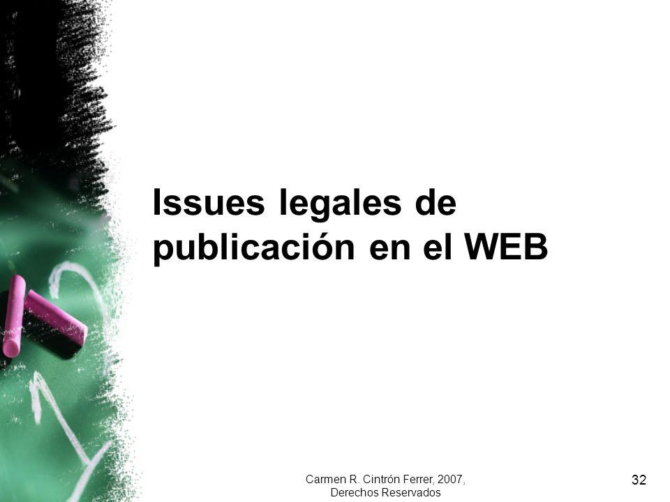 Issues legales de publicación en el WEB