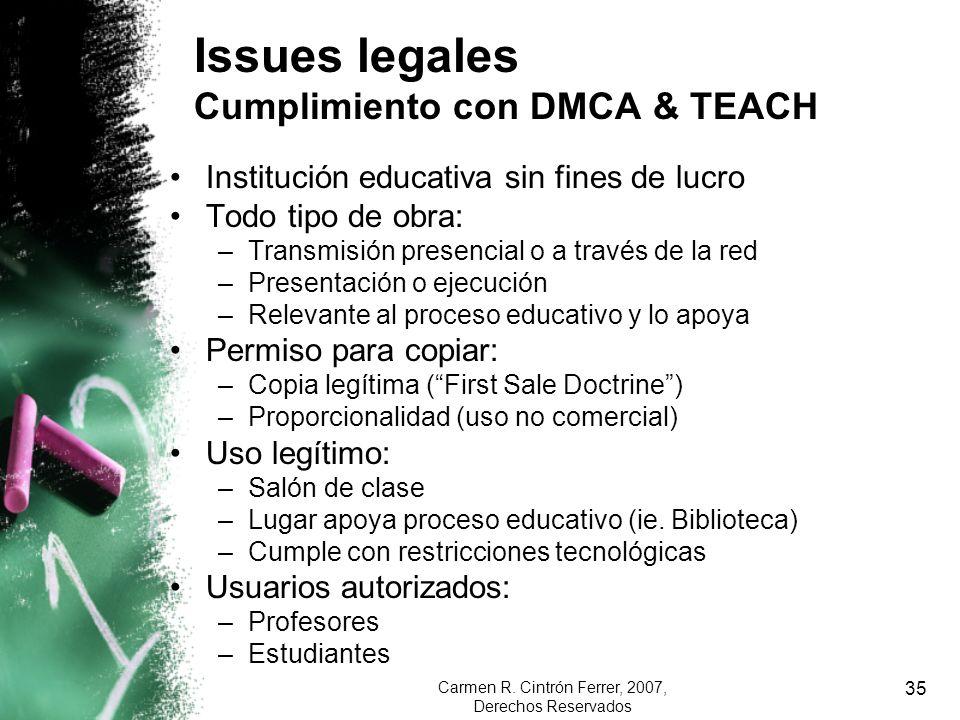 Issues legales Cumplimiento con DMCA & TEACH