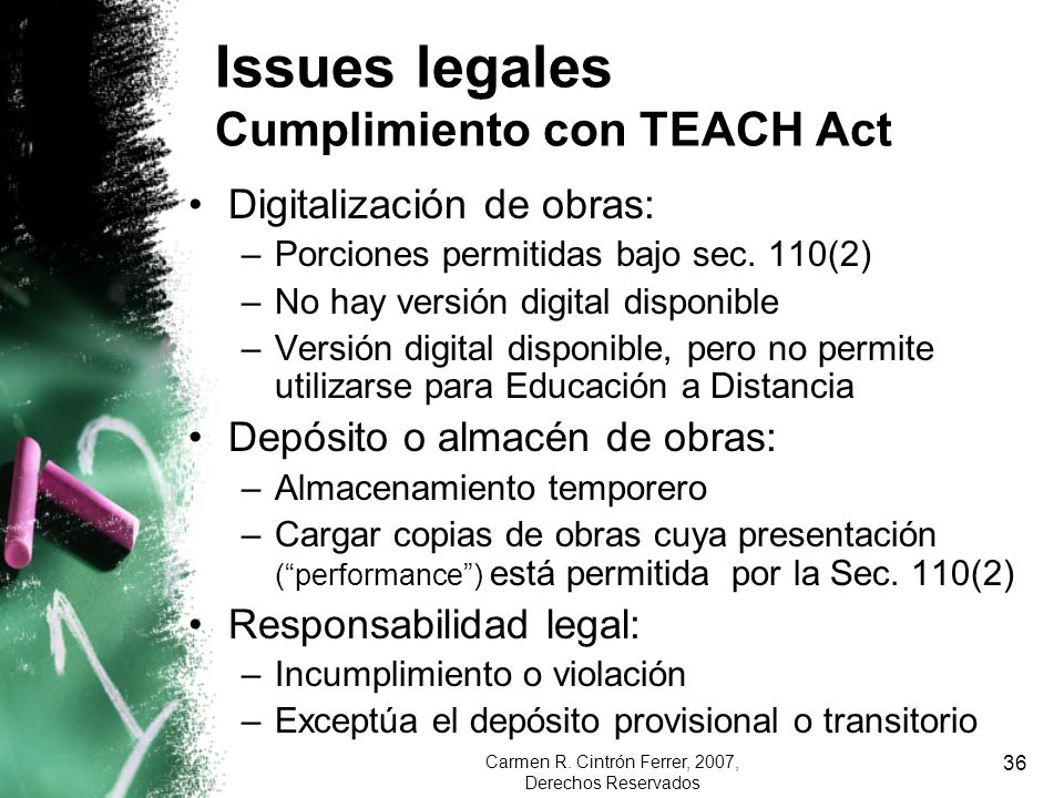 Issues legales Cumplimiento con TEACH Act