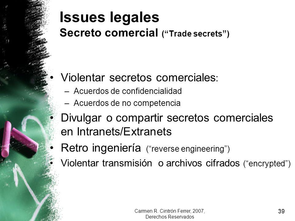 Issues legales Secreto comercial ( Trade secrets )
