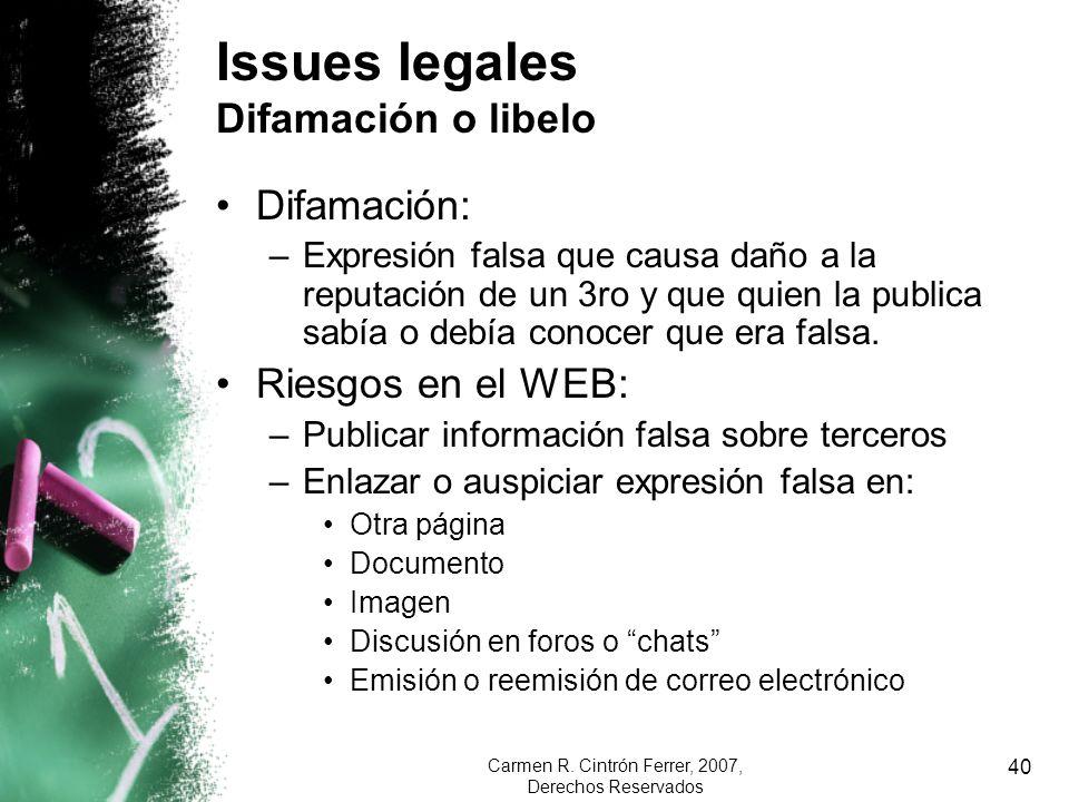 Issues legales Difamación o libelo
