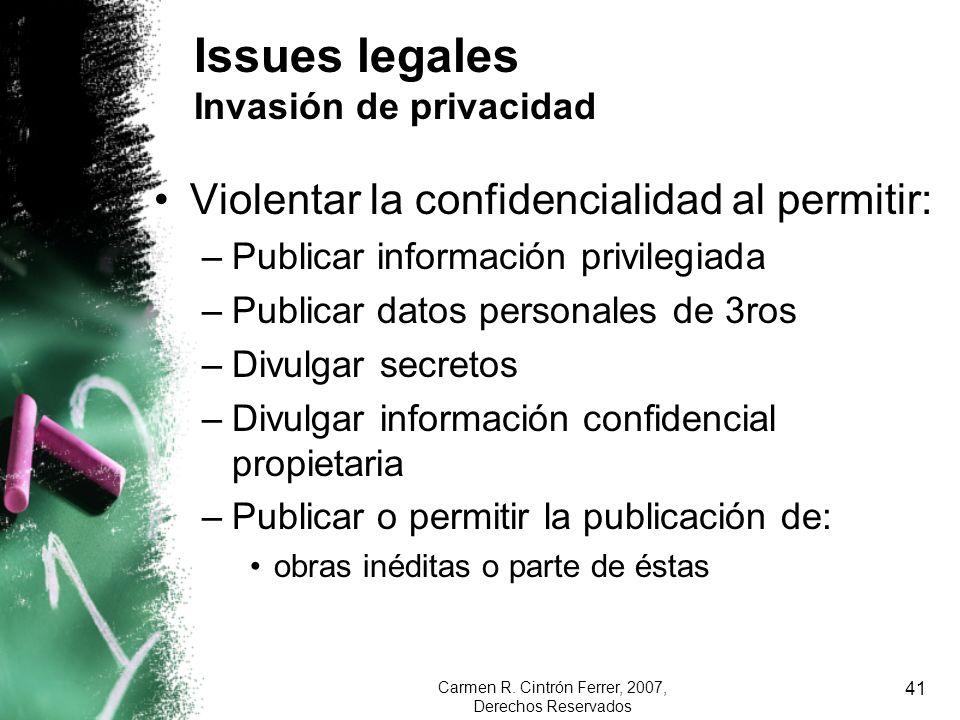 Issues legales Invasión de privacidad