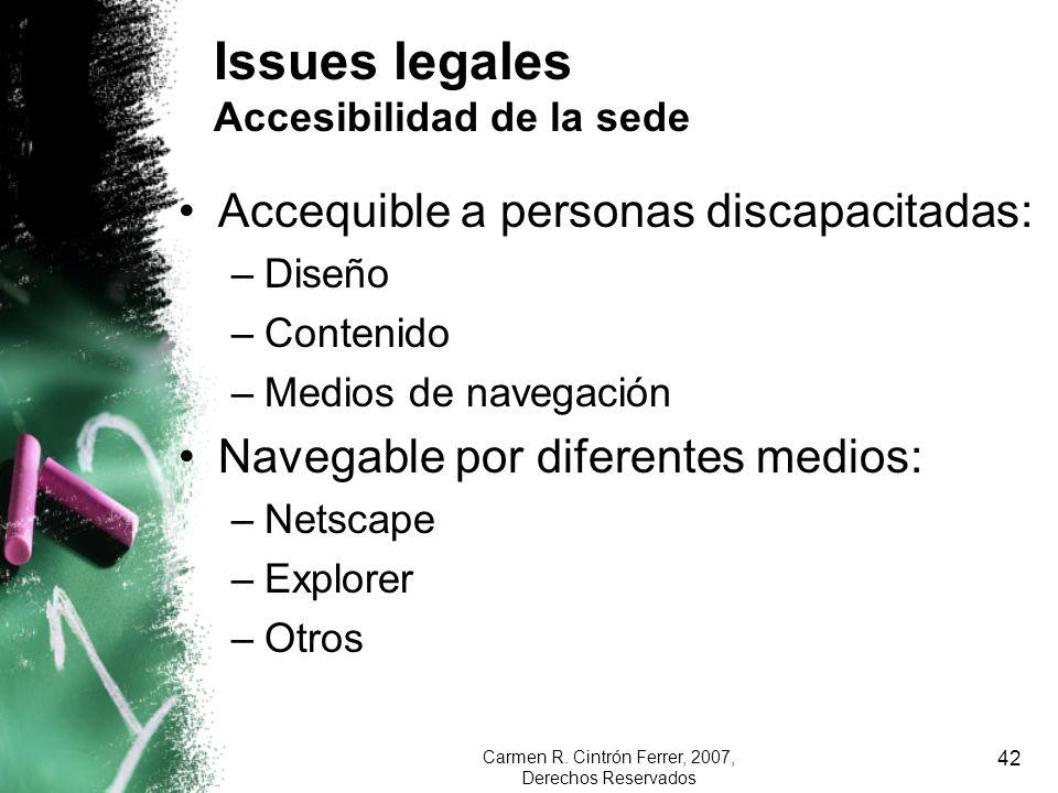 Issues legales Accesibilidad de la sede