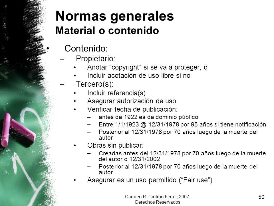 Normas generales Material o contenido