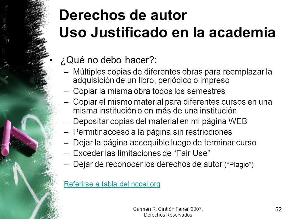 Derechos de autor Uso Justificado en la academia