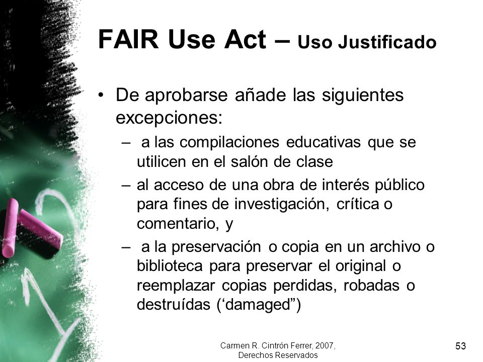 FAIR Use Act – Uso Justificado