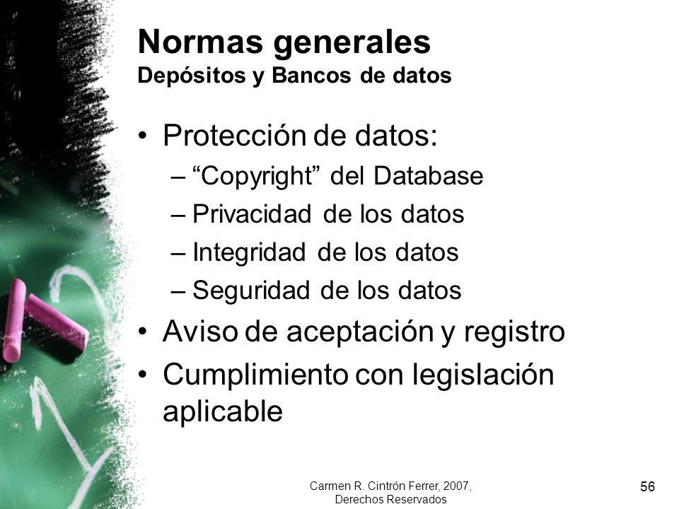 Normas generales Depósitos y Bancos de datos