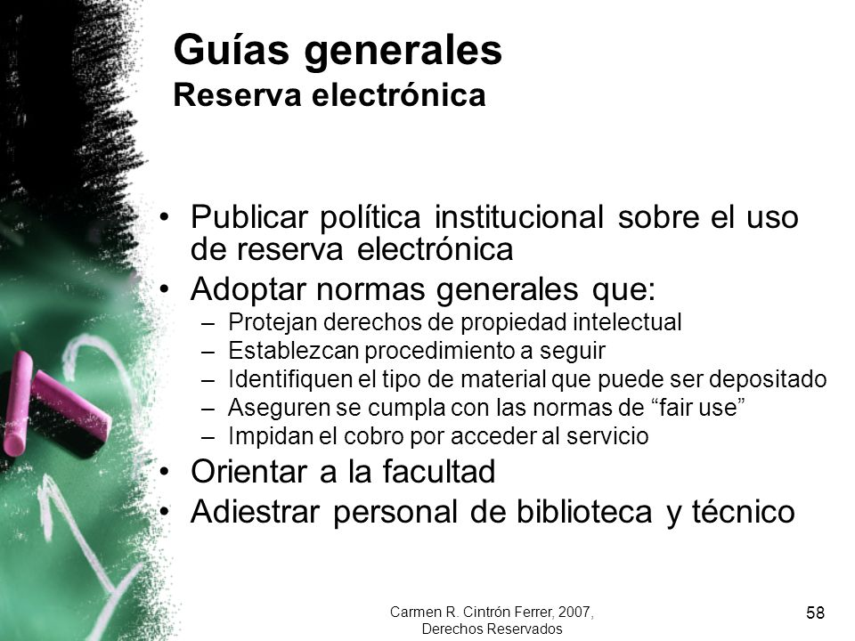Guías generales Reserva electrónica