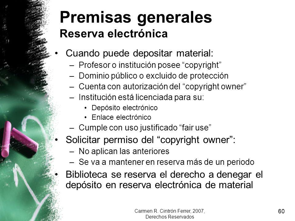 Premisas generales Reserva electrónica
