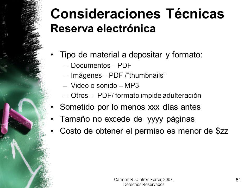 Consideraciones Técnicas Reserva electrónica