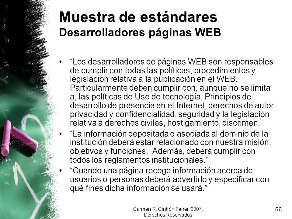 Muestra de estándares Desarrolladores páginas WEB