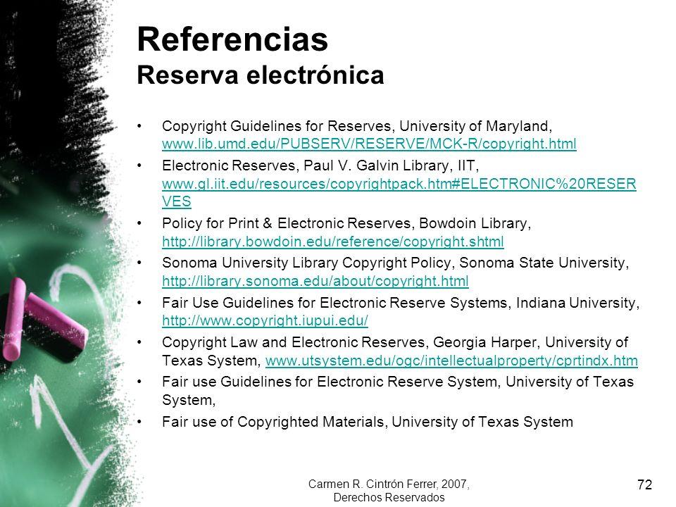Referencias Reserva electrónica