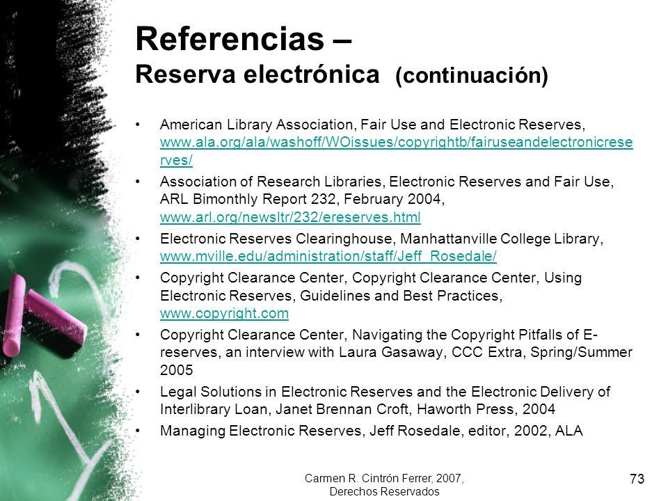 Referencias – Reserva electrónica (continuación)