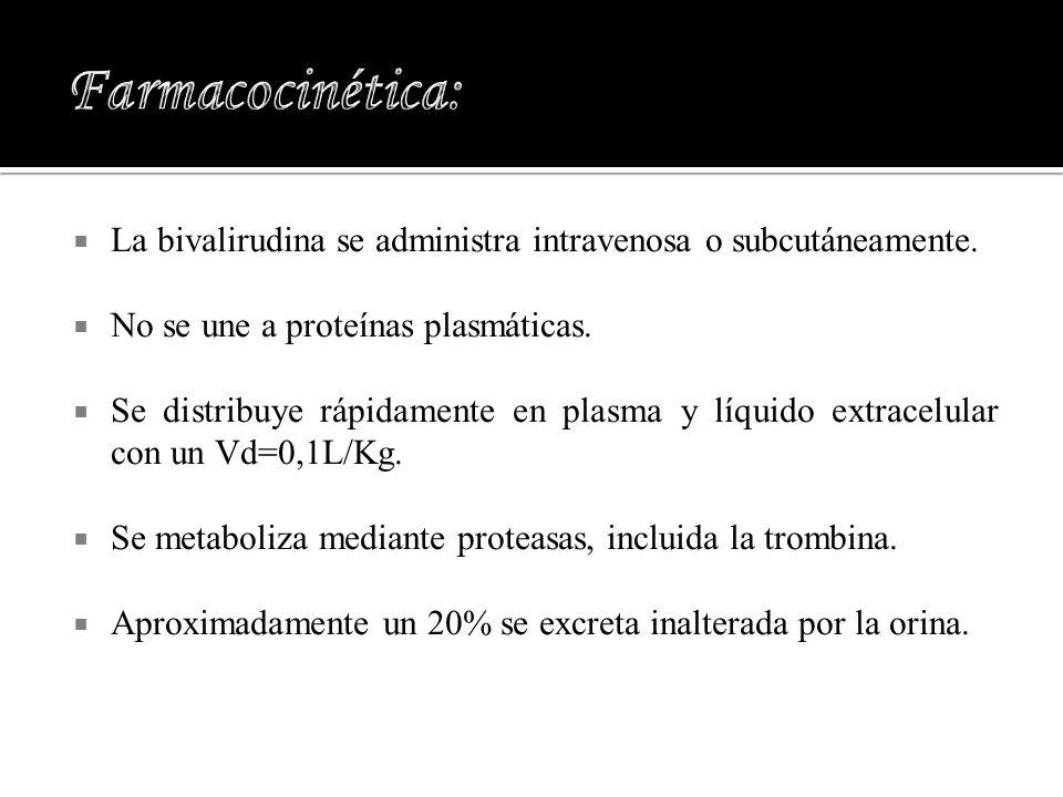 Farmacocinética:La bivalirudina se administra intravenosa o subcutáneamente. No se une a proteínas plasmáticas.