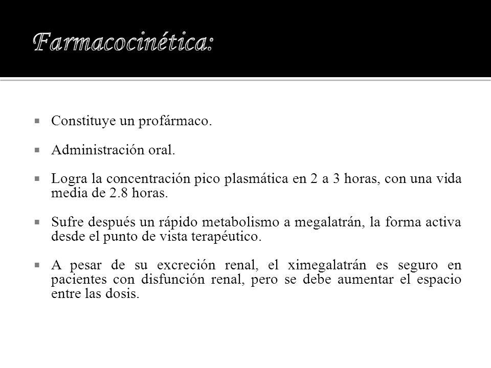 Farmacocinética: Constituye un profármaco. Administración oral.