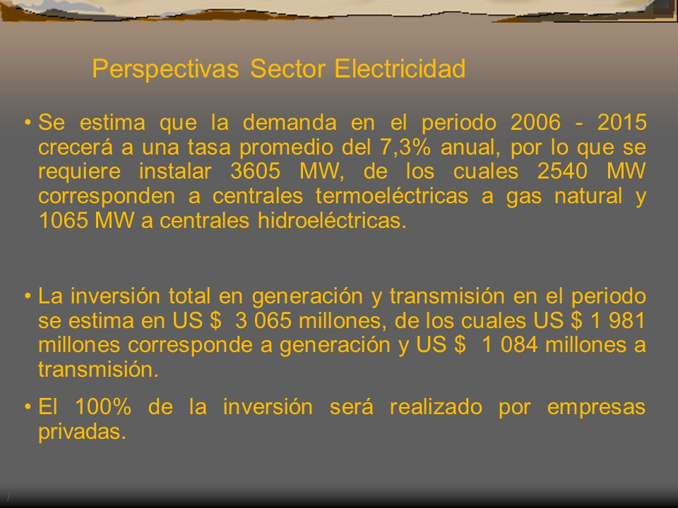 Perspectivas Sector Electricidad