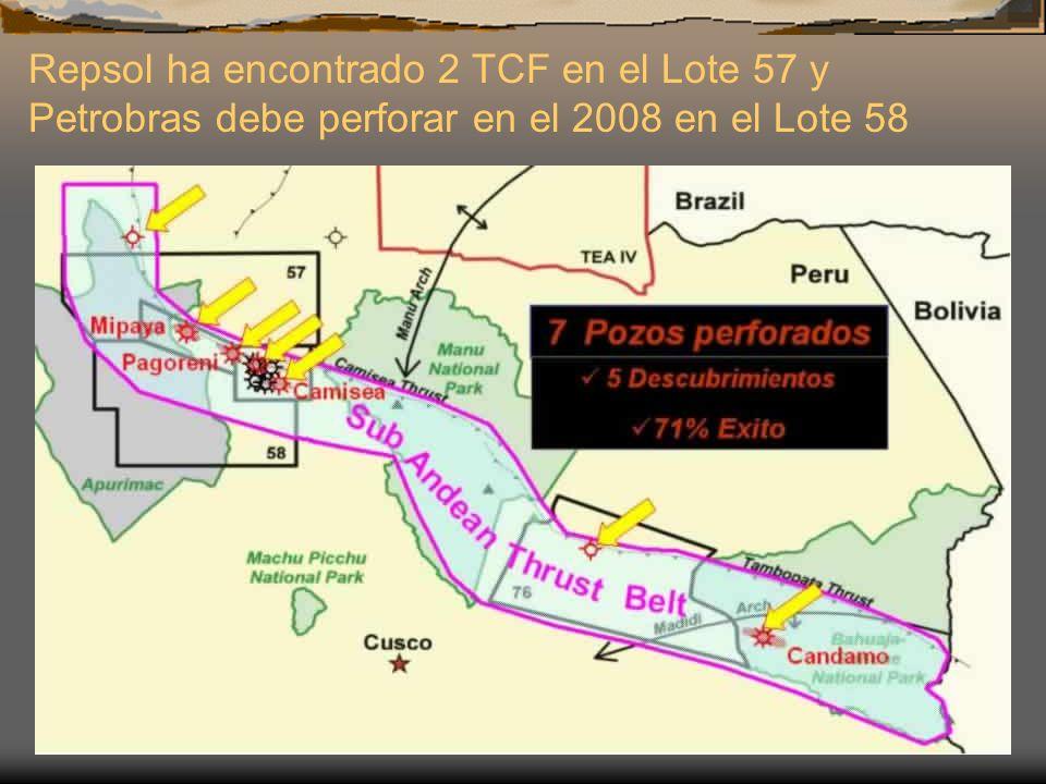 Repsol ha encontrado 2 TCF en el Lote 57 y Petrobras debe perforar en el 2008 en el Lote 58
