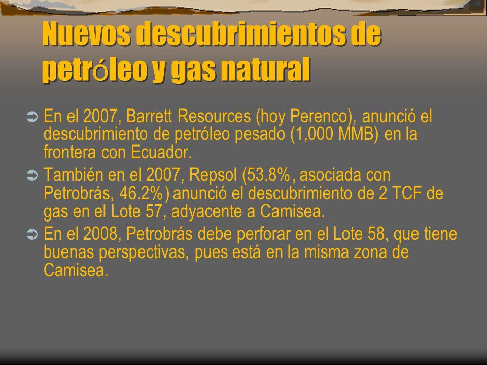 Nuevos descubrimientos de petróleo y gas natural