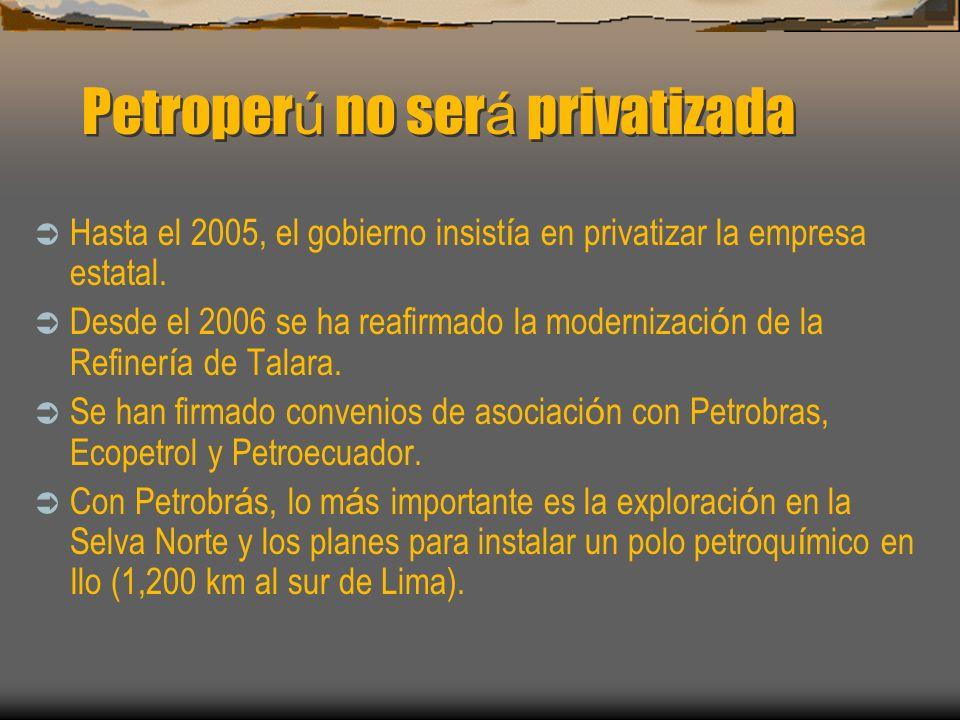 Petroperú no será privatizada