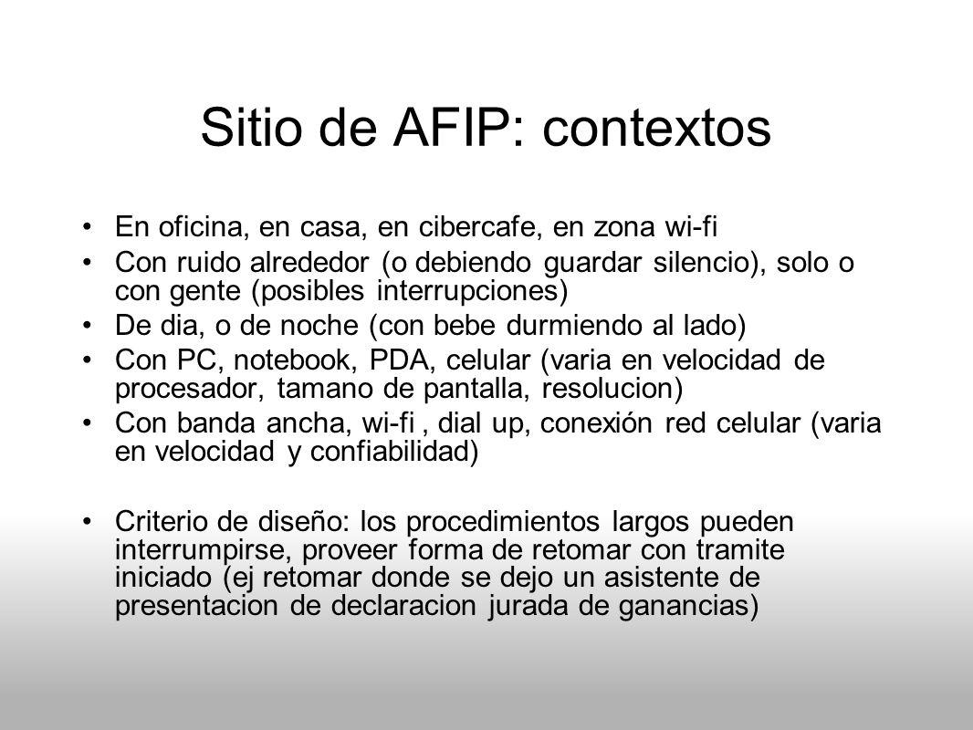Sitio de AFIP: contextos